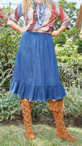 Vintage N'est-ce Pas? Denim Skirt with Ruffle - The Curatorial Dept.