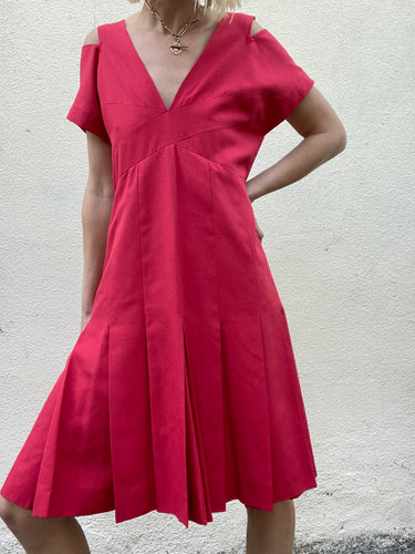 Vintage Chanel Boutique Red Silk Dress