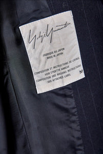 Yohji Yamamoto Navy Wool Pinstriped Jacket with Cutout - The Curatorial Dept.