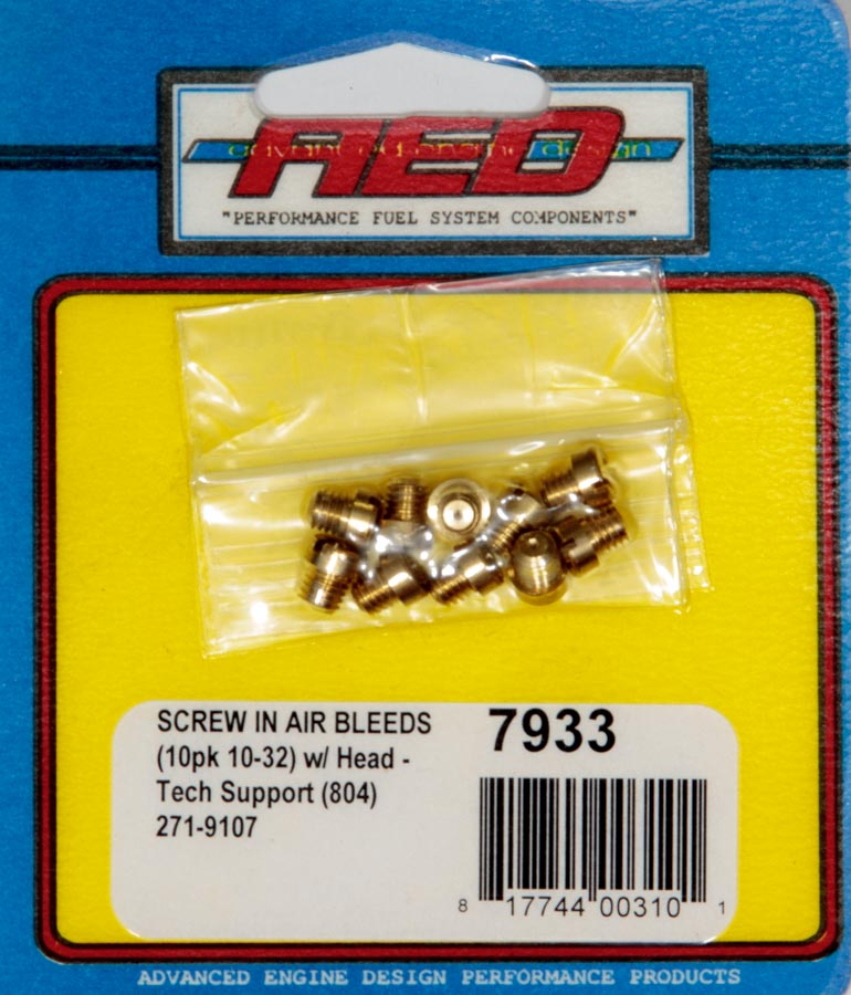 10-32 Screw-In Air Bleed (10pk) w/Head AED7933 ADVANCED ENGINE DESIGN