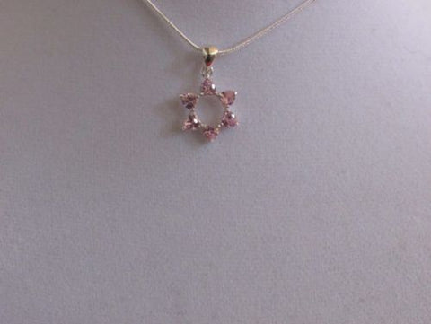 Pink Stone and Marcasite Star Of David