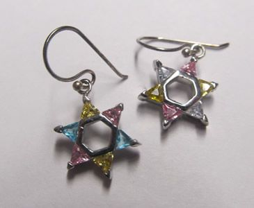 Multicolored Star of David Earrings