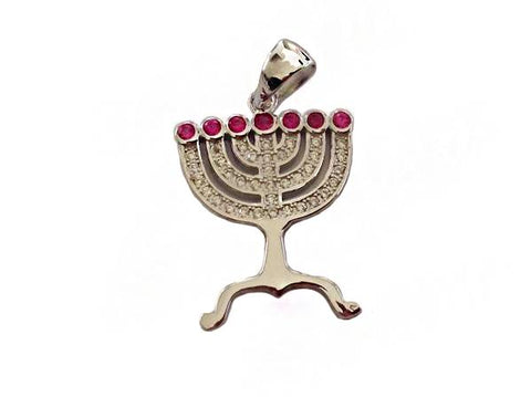 Menorah with ruby stones