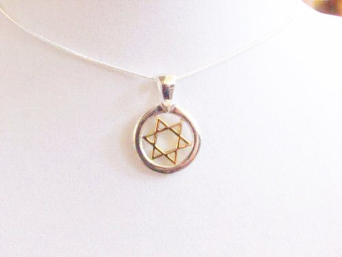 Gold and Silver Star of David Pendant