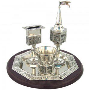 Nickel & wood Havdalah Set