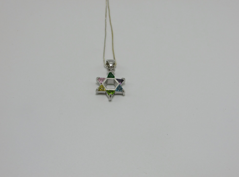 Multicolored Star Of David with A Gold Chain