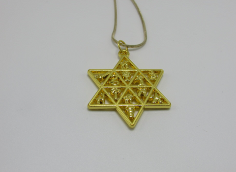 Gold 12 Tribes Star Of David Pendant