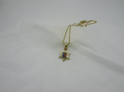 Gold Star Of David Pendant Colorful Gemstones