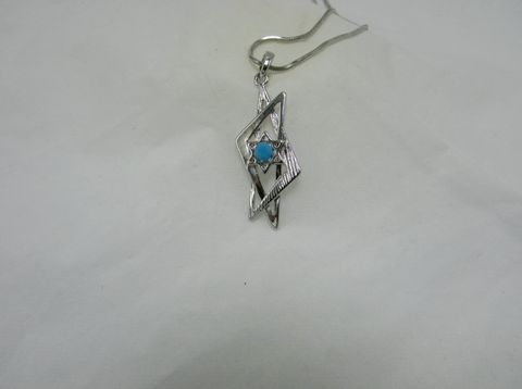 Abstract Turquoise Star Of David Pendant