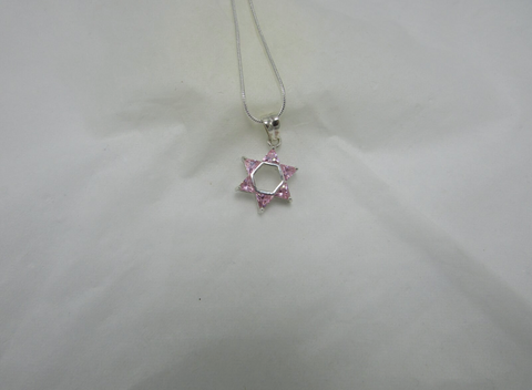 Pink Star Of David Pendant