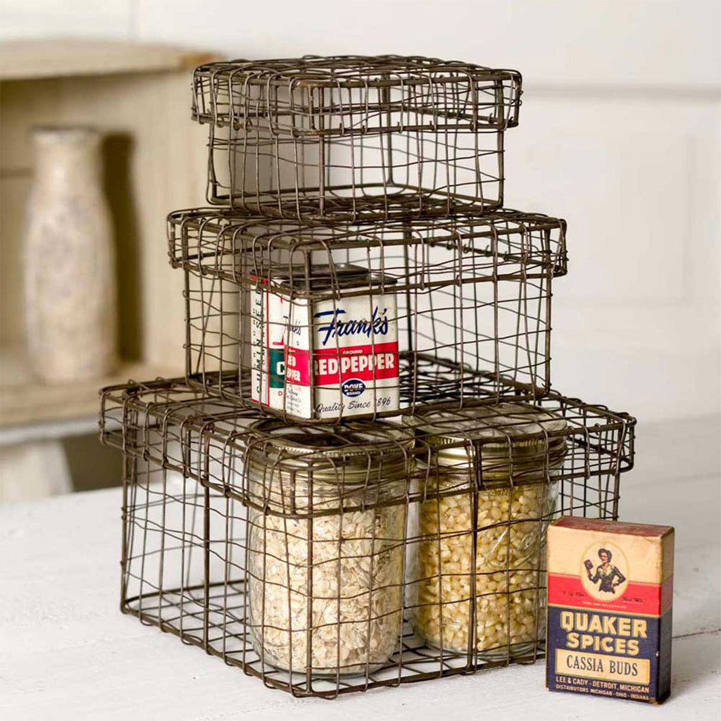 SET OF THREE RUSTIC WIRE NESTING BOXES