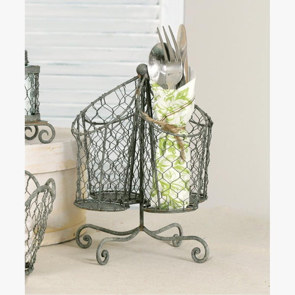 CHICKEN WIRE UTENSIL HOLDER - BARN ROOF