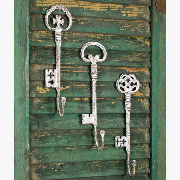 SET OF 3 OVERSIZED VINTAGE KEY HOOKS