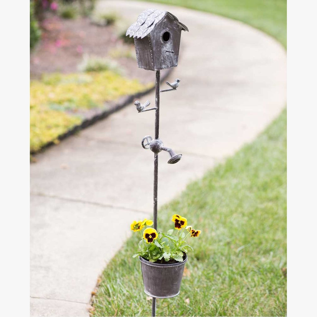BIRDHOUSE GARDEN STAKE WITH PLANTER