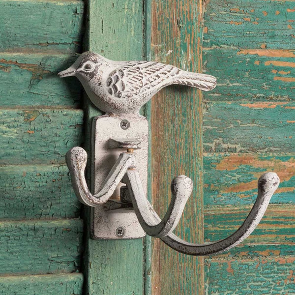 RUSTIC SET OF TWO WHITE BIRD HINGED WALL HOOKS
