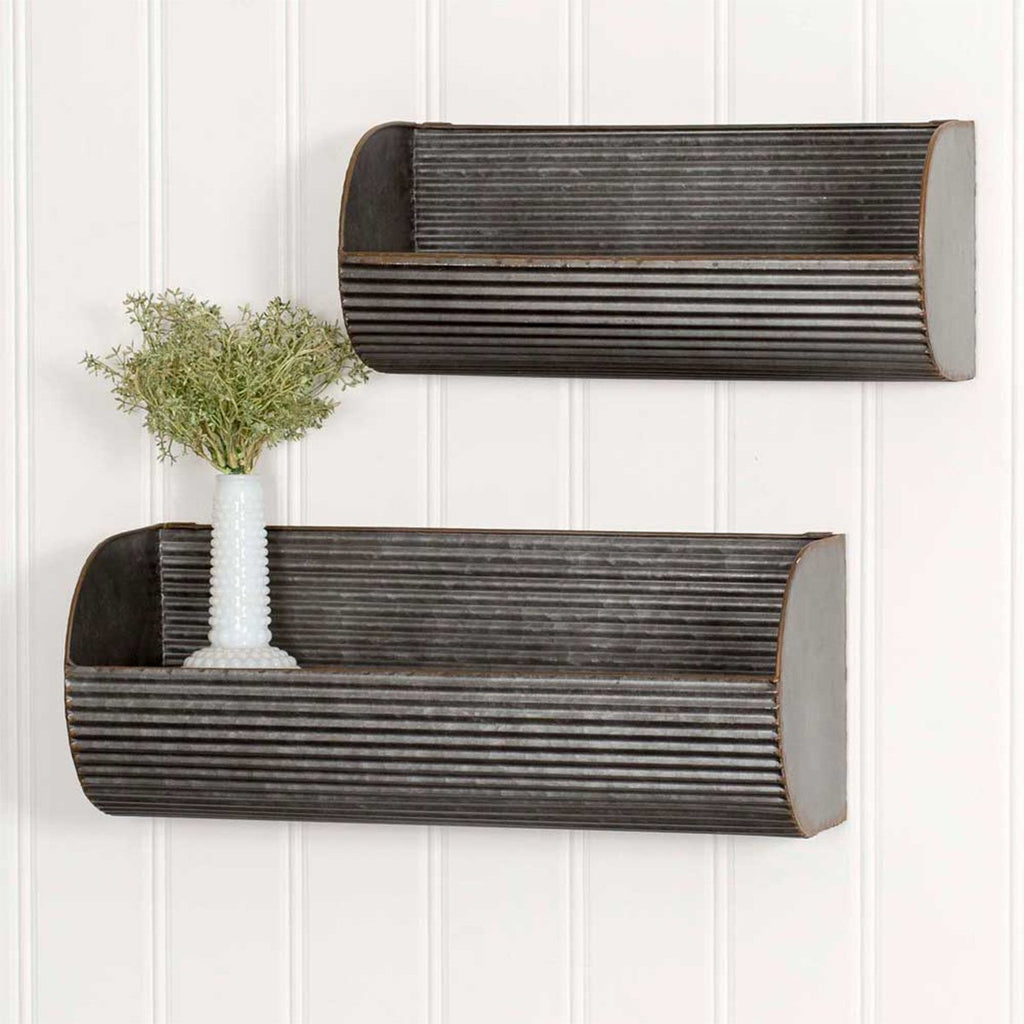 SET OF TWO FARMHOUSE STYLE LONG CORRUGATED WALL DISPLAYS