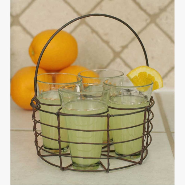 ROUND WIRE CADDY WITH FOUR GLASSES