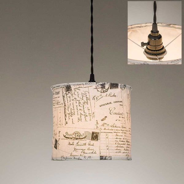 VINTAGE POSTCARDS CANVAS PENDANT LAMP