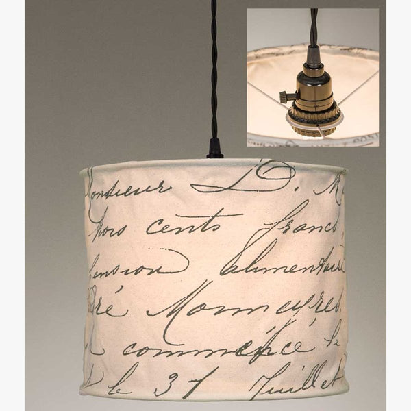 VINTAGE HANDWRITING CANVAS PENDANT LAMP