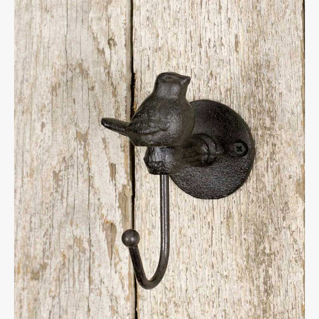 SET OF 4 RUSTIC SONGBIRD WALL HOOKS
