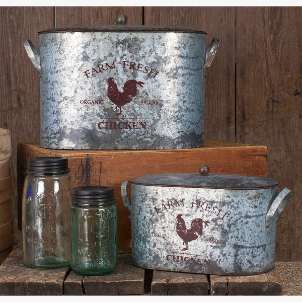 RUSTIC FARM FRESH BUCKET WITH LID - SET OF TWO