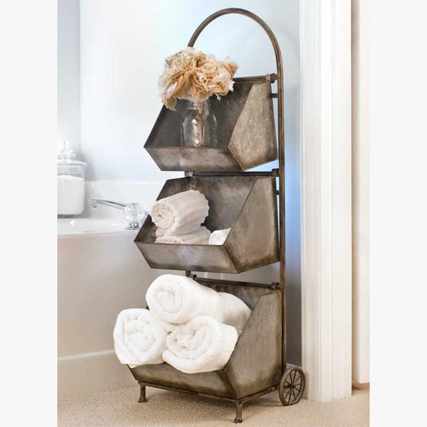 FARMHOUSE STYLE THREE BIN CART