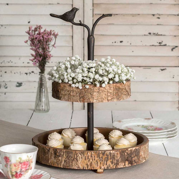 RUSTIC BIRD AND BIRCH TWO-TIERED TRAY
