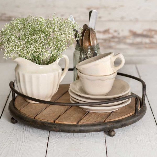 RUSTIC ROUND WOOD PLANK SERVING TRAY