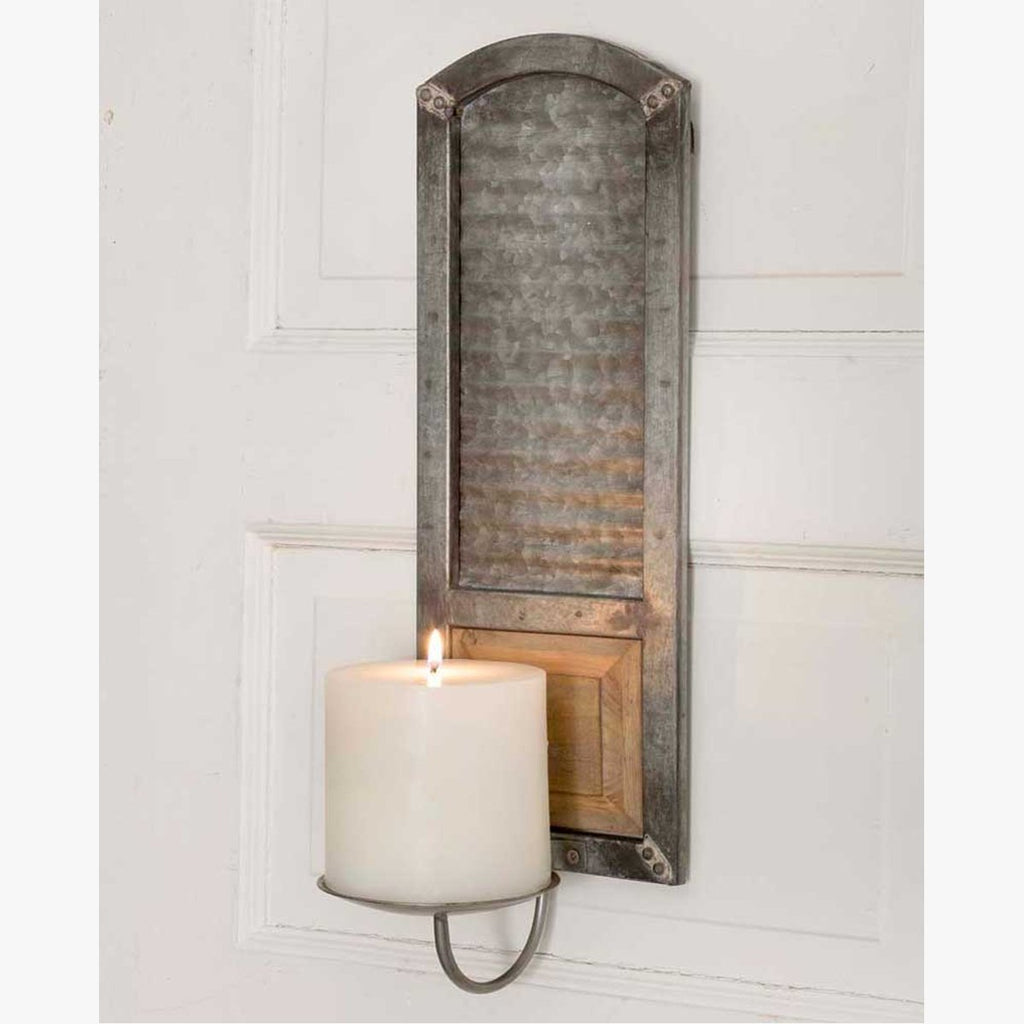 RUSTIC METAL WASHBOARD PILLAR CANDLE SCONCE