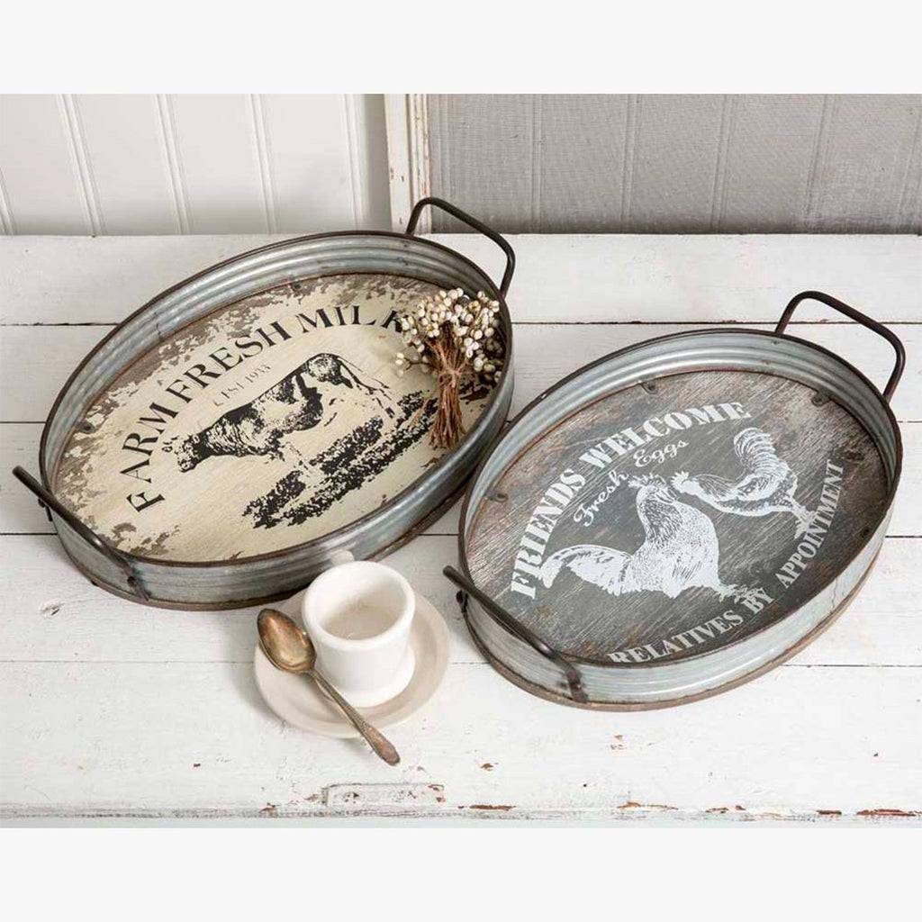 SET OF 2 RUSTIC FARMHOUSE METAL AND WOOD SERVING TRAYS