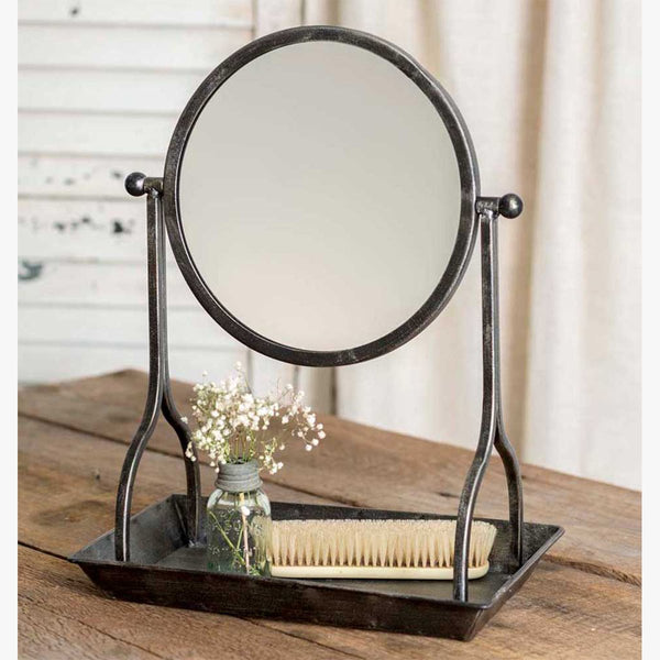 VINTAGE VANITY TRAY WITH ROUND MIRROR