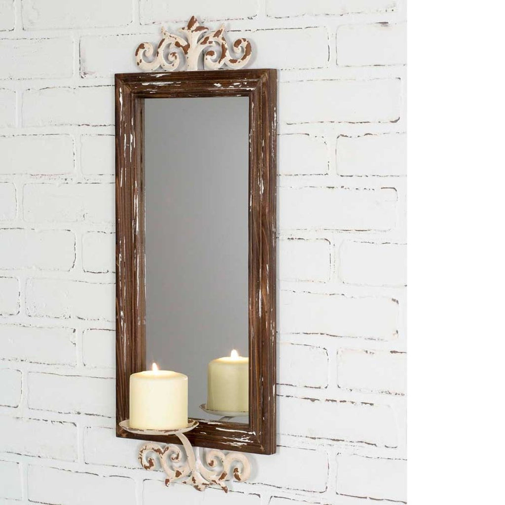 RUSTIC MIRROR PILLAR CANDLE SCONCE