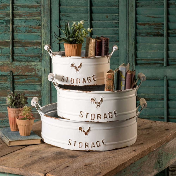 SET OF THREE NESTED ROUND STORAGE BINS WITH HANDLES