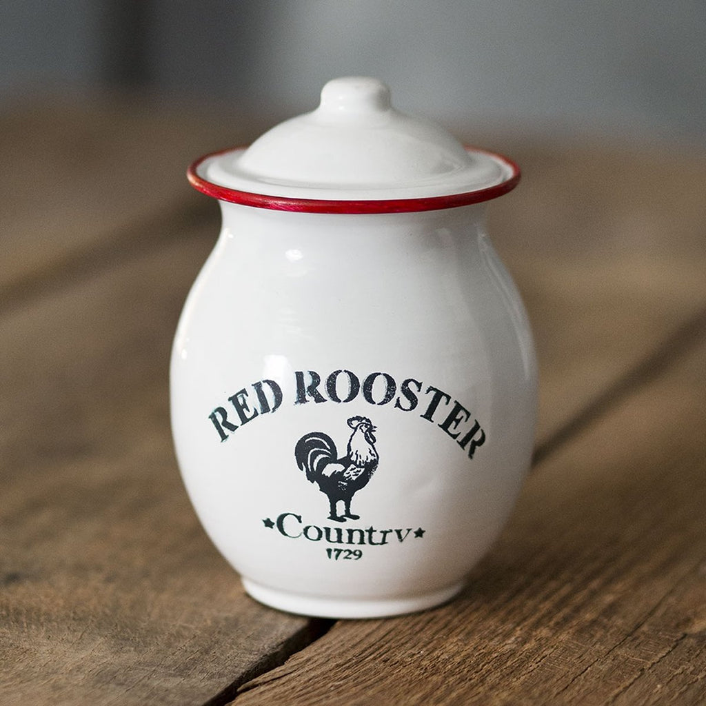 RED TRIM ROOSTER CANISTER
