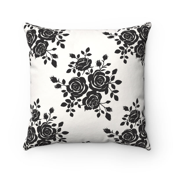 BLACK ROSE DECORATIVE THROW PILLOW
