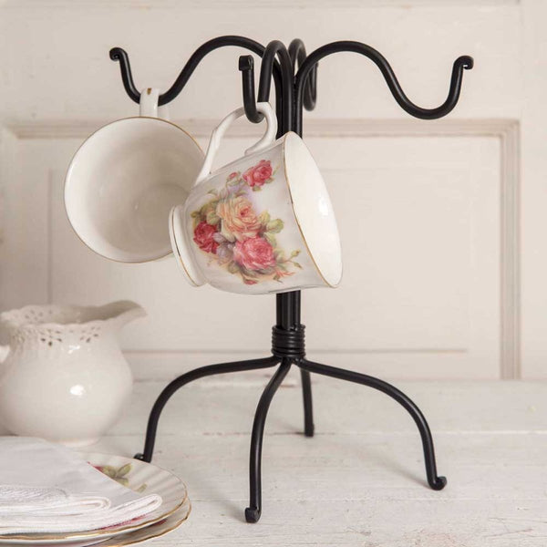 SET OF TWO FOUR HOOK MUG RACK - BLACK
