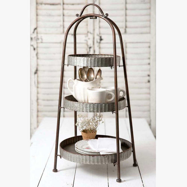 FARMHOUSE STYLE THREE TIER ROUND DISPLAY