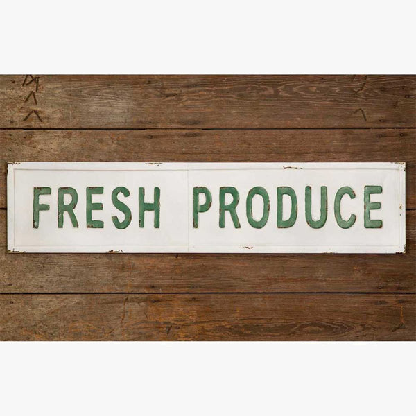 "VINTAGE METAL ""FRESH PRODUCE""  WALL SIGN"