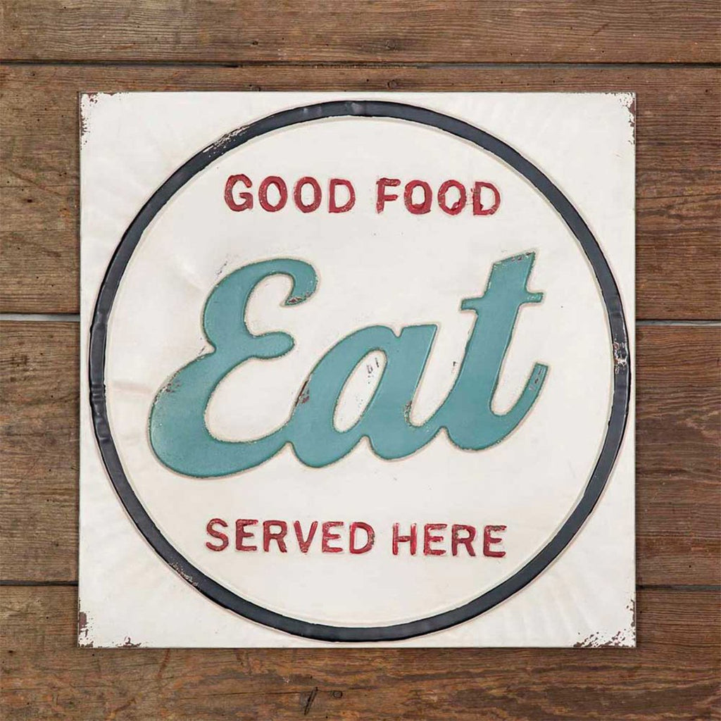 embossed metal sign. Reads: Good food served here. Hangs with two keyhole hangers on the back.
