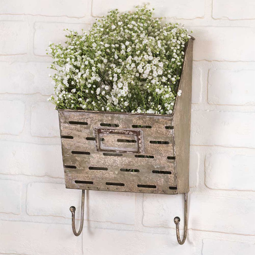 VINTAGE PERFORATED WALL CADDY WITH HOOKS