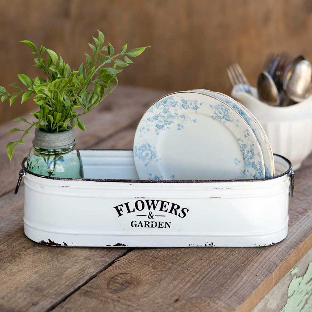 VINTAGE FLOWERS AND GARDEN WHITE BIN