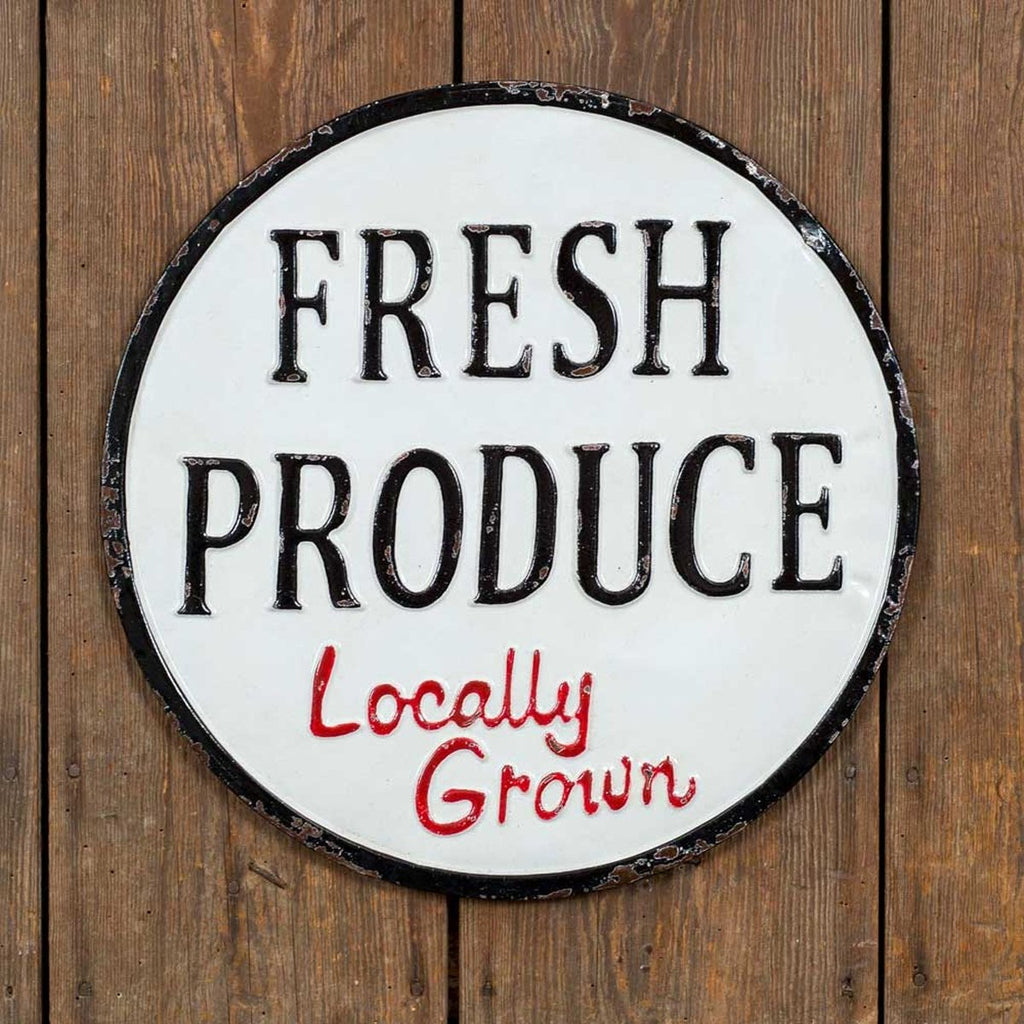 VINTAGE FRESH PRODUCE METAL SIGN