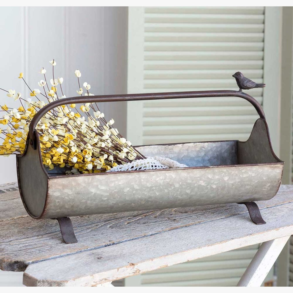 VINTAGE OPEN FEED TROUGH CADDY WITH SONGBIRD