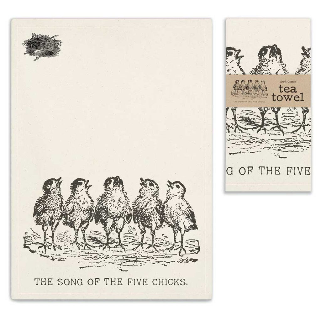 VINTAGE SONG OF THE FIVE CHICKS TEA TOWEL SET OF FOUR