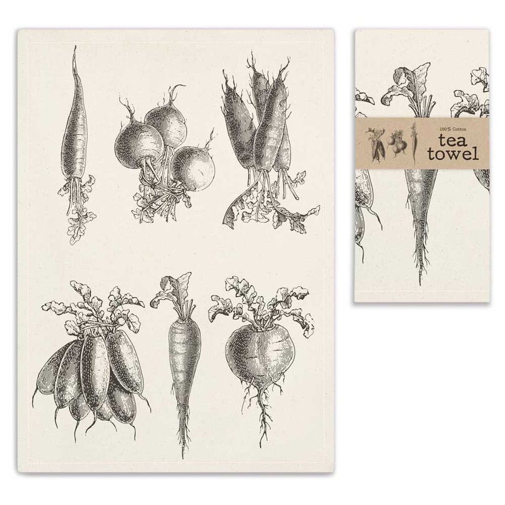 VINTAGE ROOT VEGETABLES TEA TOWEL SET OF FOUR