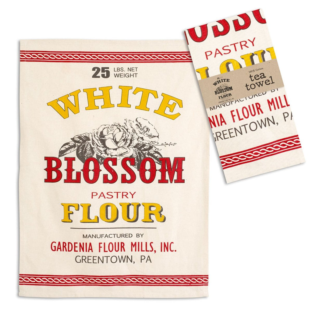 WHITE BLOSSOM FLOUR TEA TOWEL SET OF FOUR