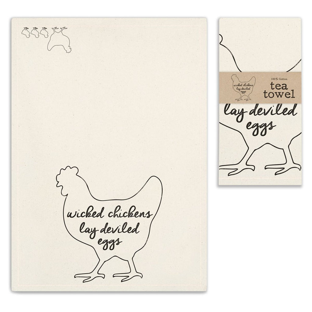 VINTAGE WICKED CHICKENS TEA TOWEL SET OF FOUR