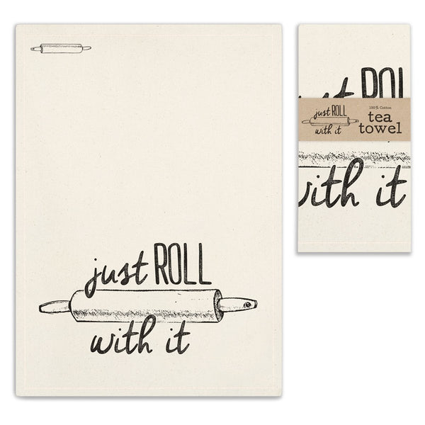 VINTAGE JUST ROLL WITH IT TEA TOWEL SET OF FOUR