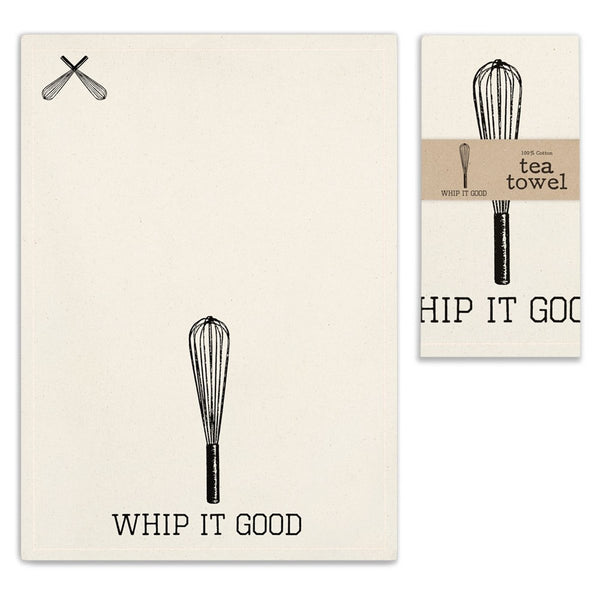 VINTAGE WHIP IT TEA TOWEL SET OF FOUR