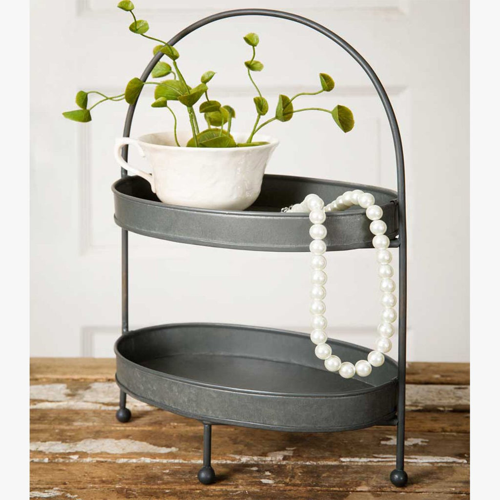 VINTAGE TWO-TIER METAL TRAY